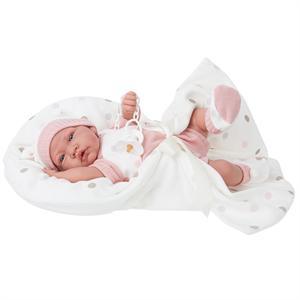 Muñeca recién nacida 40 cm con mecanismo, manta y vestido rosa Antonio Juan 3355-2