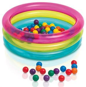 Piscina 3 tubos colores 86x25 con 50 bolas Intex 48674