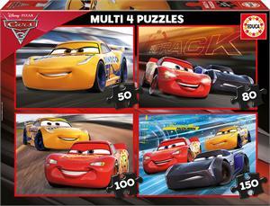 Cars 3 Multi 4 Puzzles 50-80-100-150 piezas Educa 17179