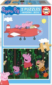 Peppa Pig Puzzle Madera 2x16 piezas Educa 17157