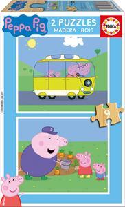 Peppa Pig Puzzle madera 2x9 piezas Educa 17156