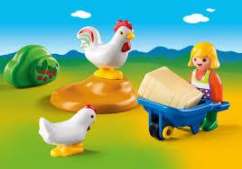 Playmobil 1.2.3 Granjera con gallinas 6965