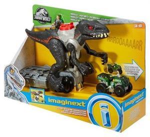 Imaginext Jurassic World Dinosaurio Indorraptor Perseguidor con figura y vehiculo Mattel 86FMX