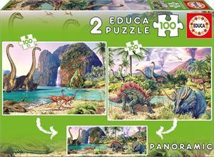 Dino World Puzzle 2x100 piezas Educa 15620
