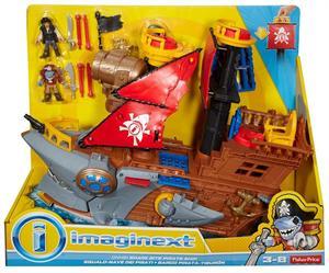 Imaginext Barco Pirata Tiburón con Figuras Mattel 61DHH