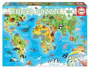 Mapamundi Animales Puzzle 150 Piezas Educa 18115