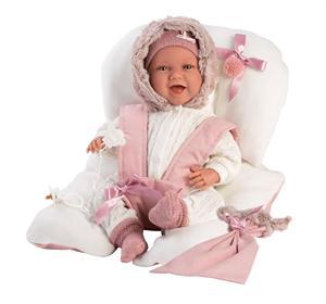 Muñeca Recien Nacido Mimi Llorona 42cm con Sillita Rosa Llorens 74078