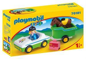 Playmobil 1.2.3 Coche con Remolque de Caballo 70181