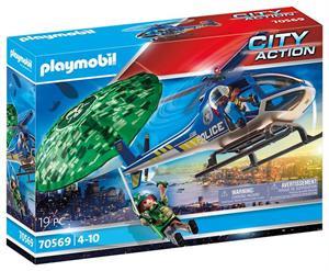 Playmobil City Action Helicóptero de Policia Persecución en Paracaidas 70569
